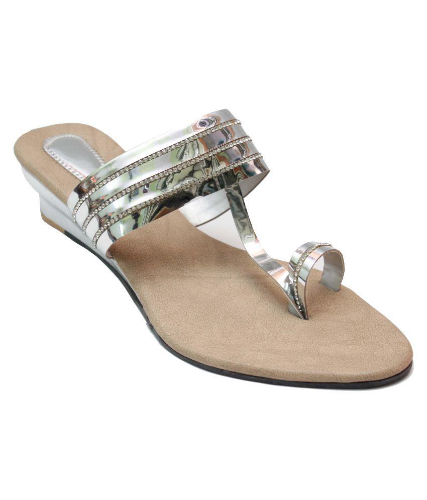 Vogueville Silver Wedges Heels