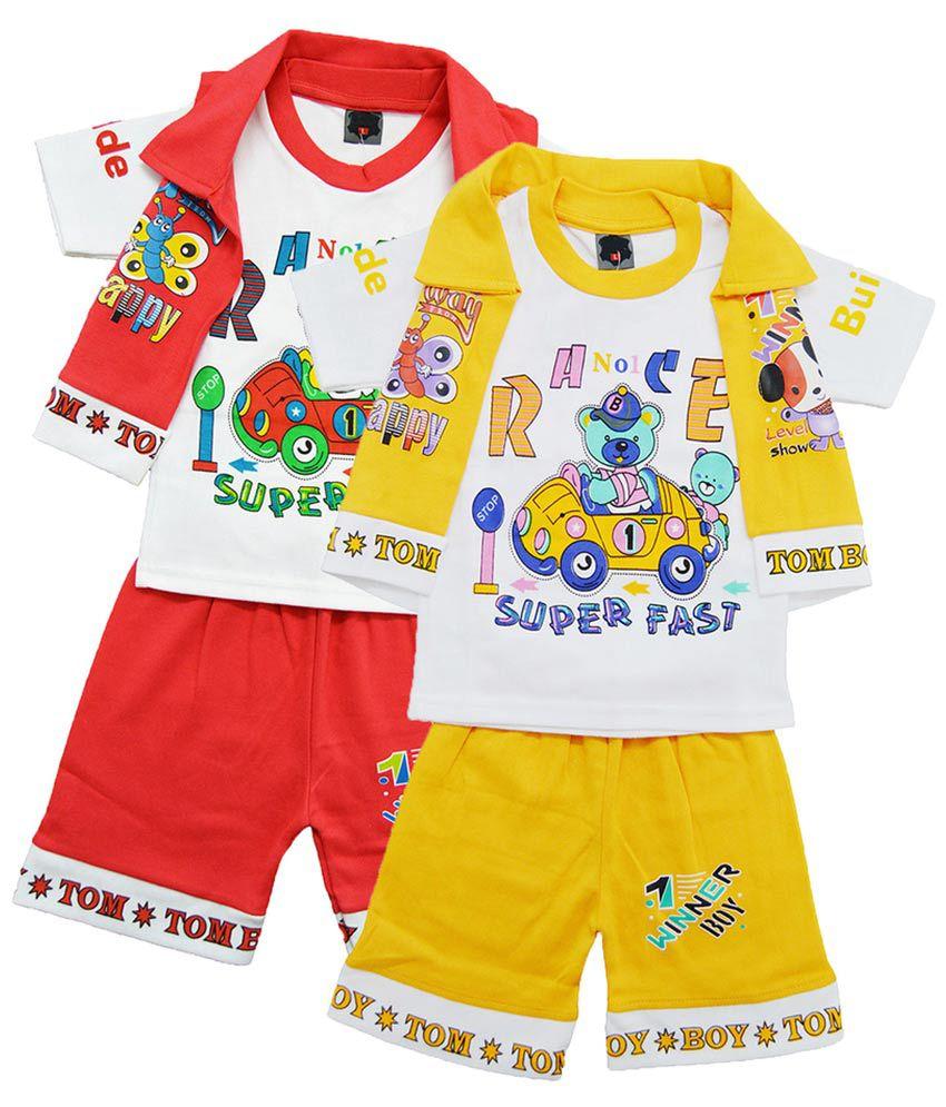 Elk Multicolour Kids T Shirt and Shorts - Set of 2