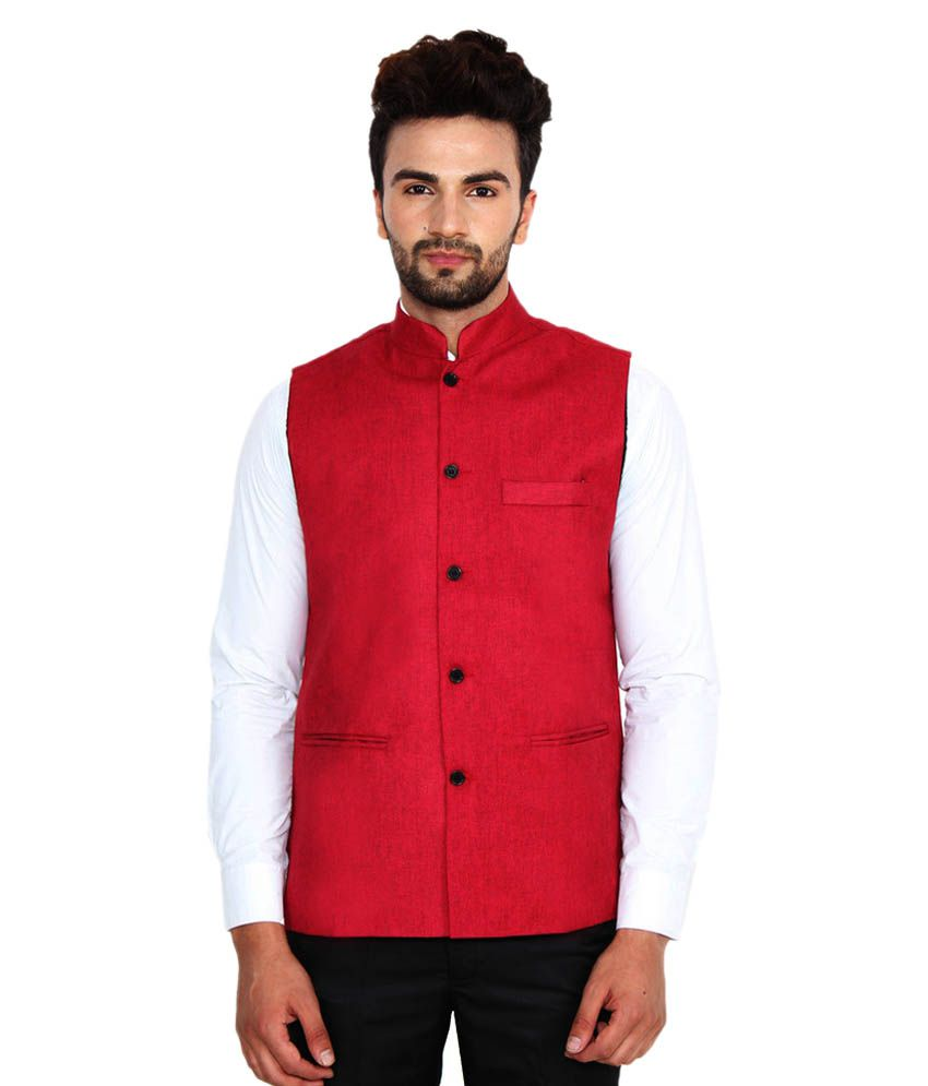 Jainish Red Party Waistcoats