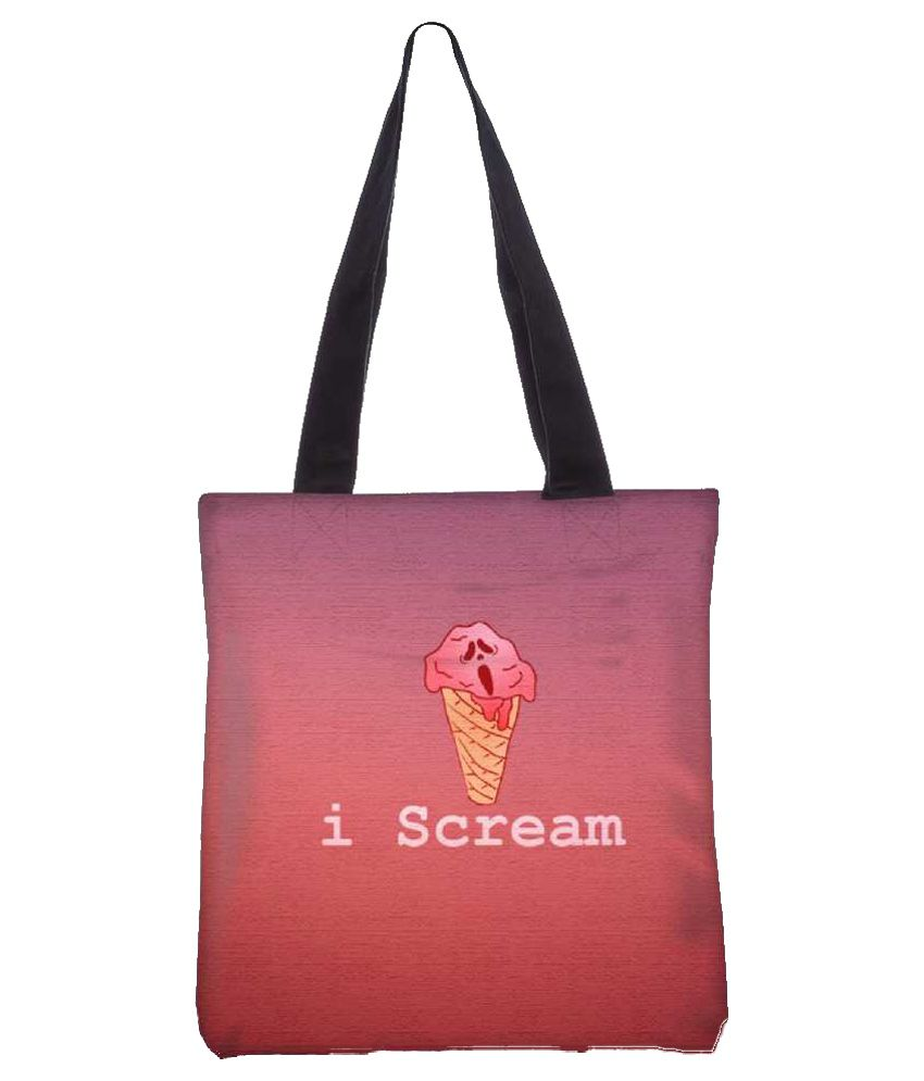 Snoogg Pink Canvas Tote Bag