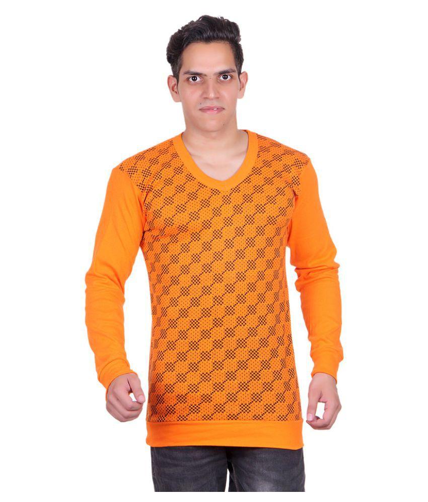 White Moon Orange V-Neck T-Shirt