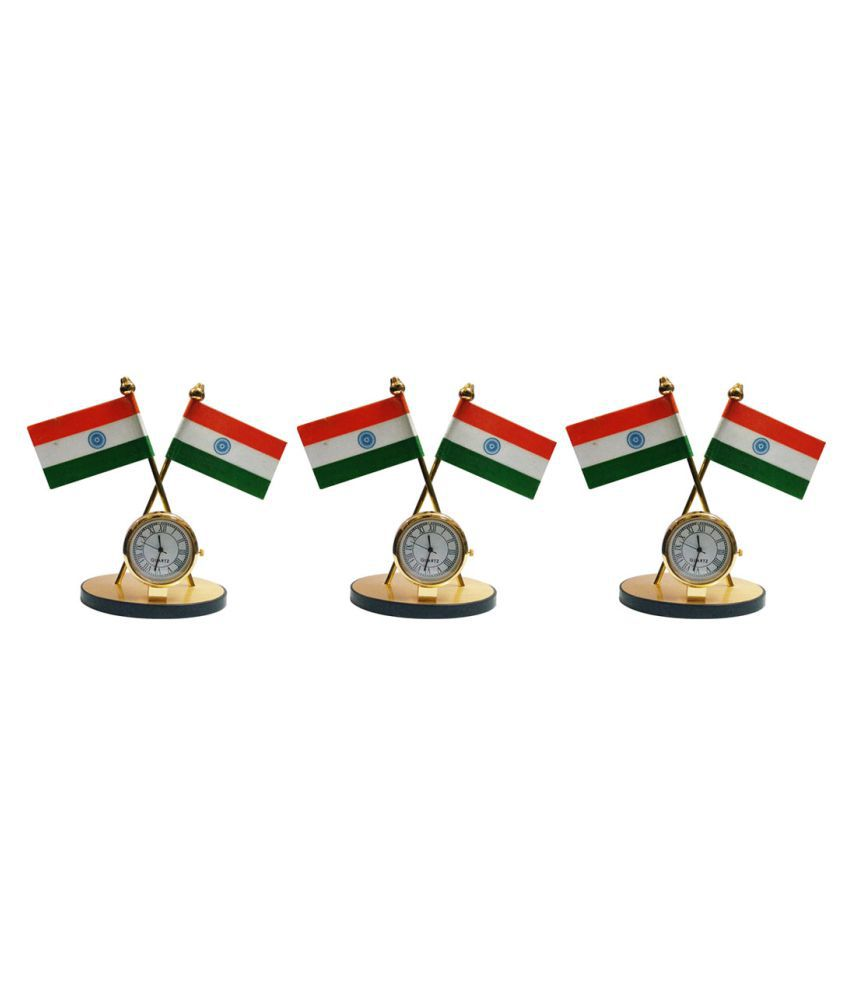 Gold Dust Indian Flag with Clock Symbol for Car Dashboard - Set of 3