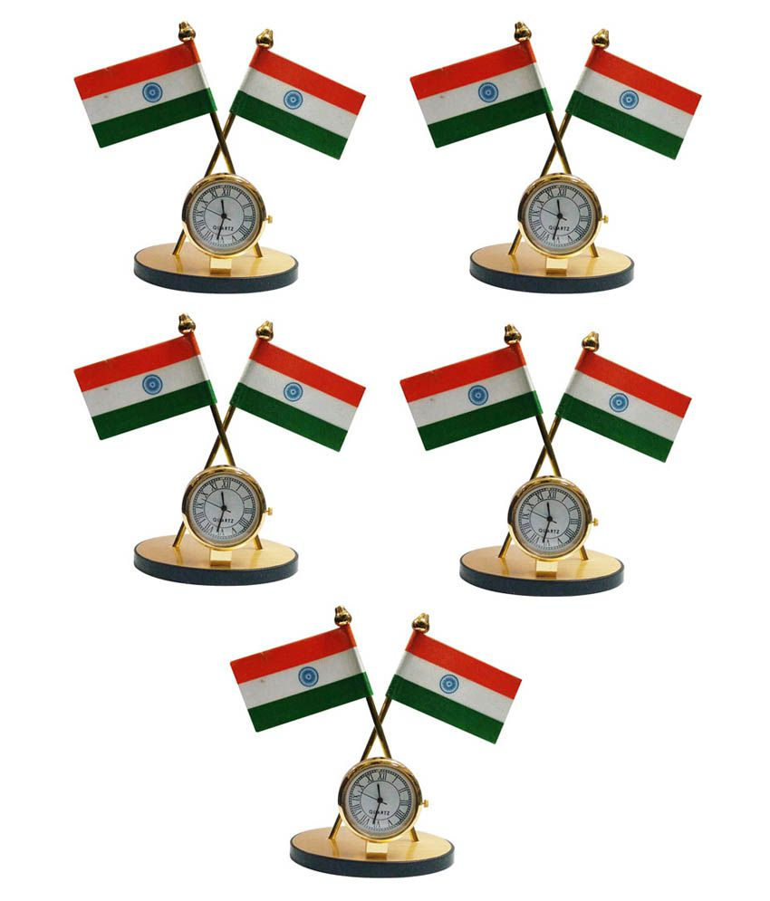 Gold Dust Indian Flag with Clock Symbol - Set of 5
