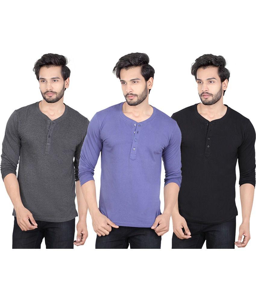 LUCfashion Multi Henley T-Shirt Pack of 3