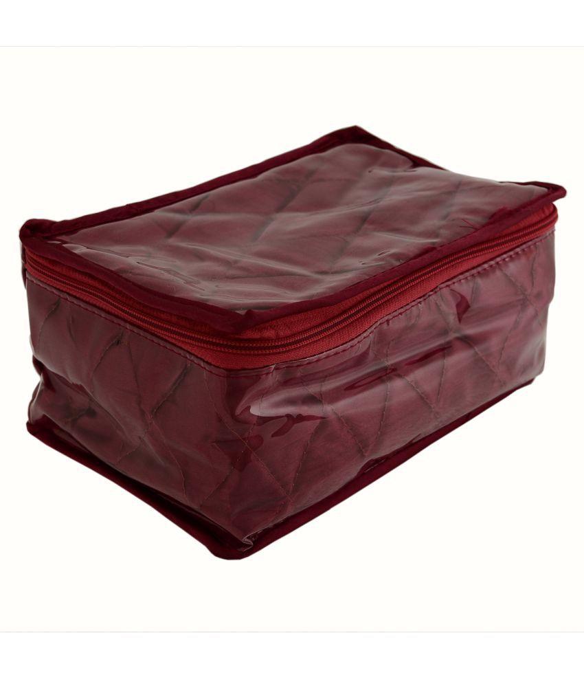 KitsandPouches Maroon Fabric Jewellery Box