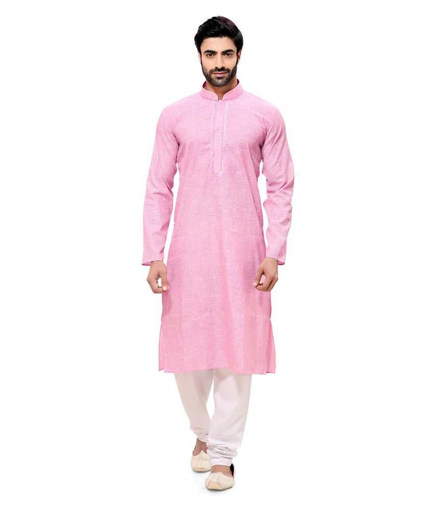 RG Designers Pink Cotton Kurta Pyjama Set