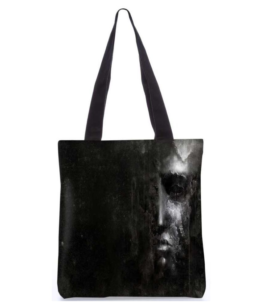 Snoogg Black Canvas Tote Bag