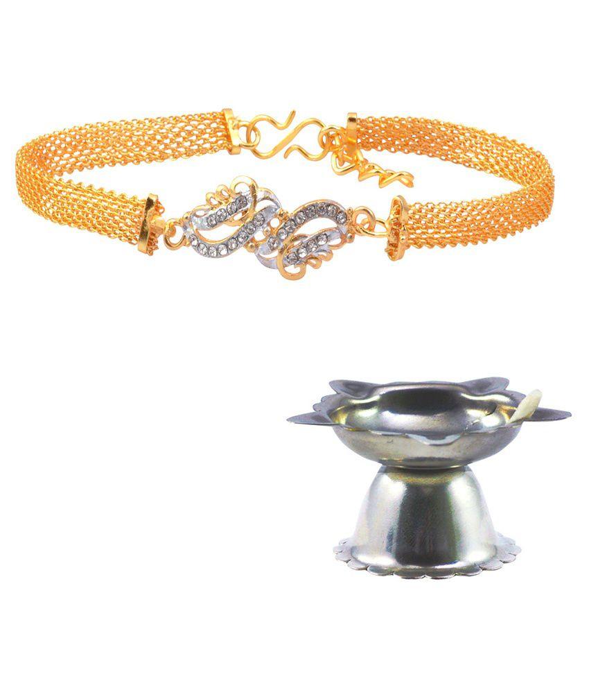 Alphaman Golden Alloy Bracelet Rakhi, 1 Pooja Diya and 1 Greeting Card for Men