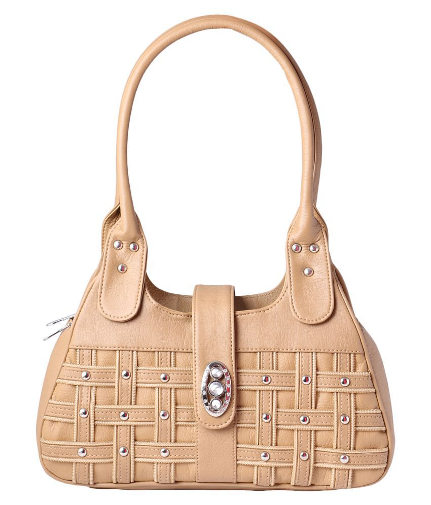 Impress Purse Beige Faux Leather Shoulder Bag