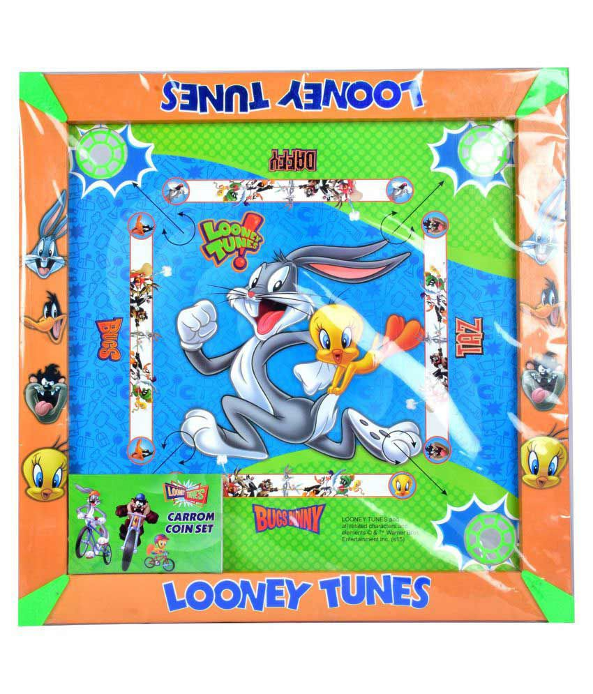 Warner Bros Looney Tunes Carrom Board with Colourful Coins & Striker Set