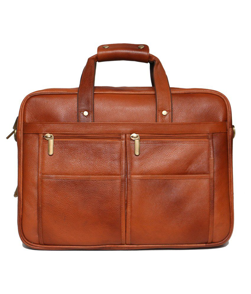 C Comfort Tan Leather Office Messenger Bag