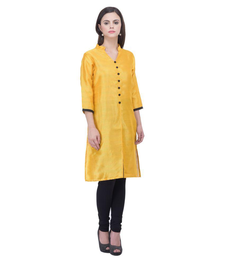 Ankahi Yellow Bhagalpuri Silk Straight Abstract Kurti