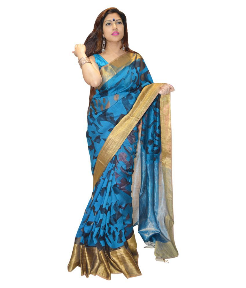 Exin Fashion Blue Muslin Saree