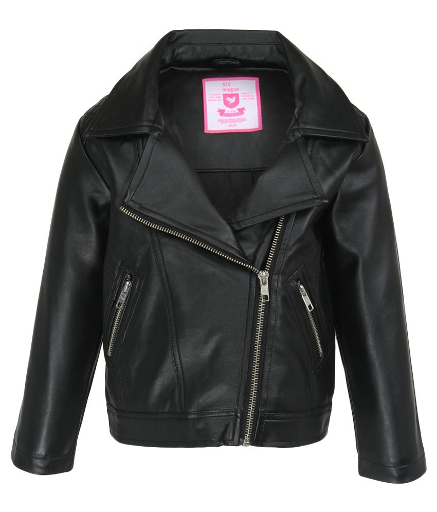 612 League Black Solid Leather Jacket