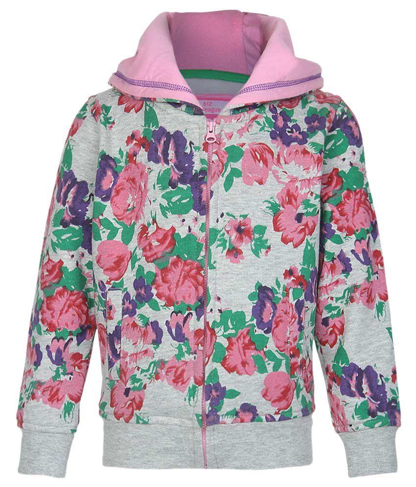 612 League Gray Floral Printed Zippered Sweatshirt