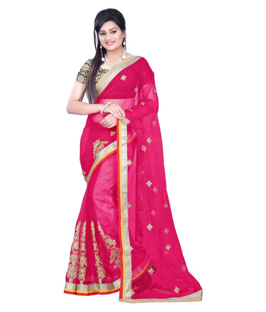 Beauty Choice Pink Net Saree