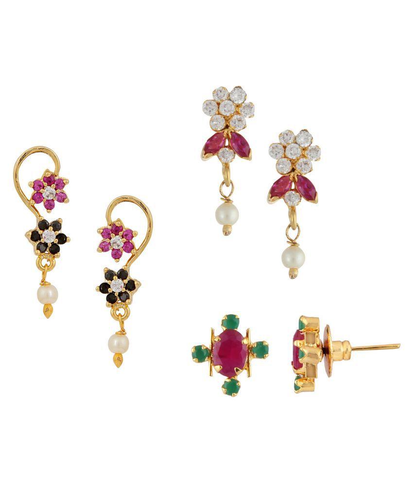 Efulgenz Multicolor Earrings - Set of 3