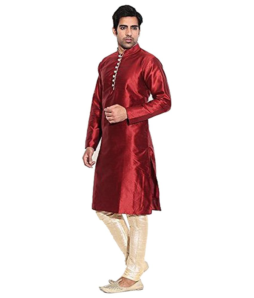 Larwa Maroon Silk Kurta Pyjama Set Single Pack