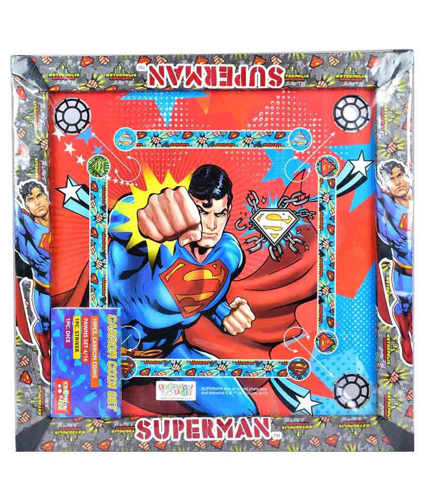 Dc Comic Superman Carom Board with Colourful Coins & Striker
