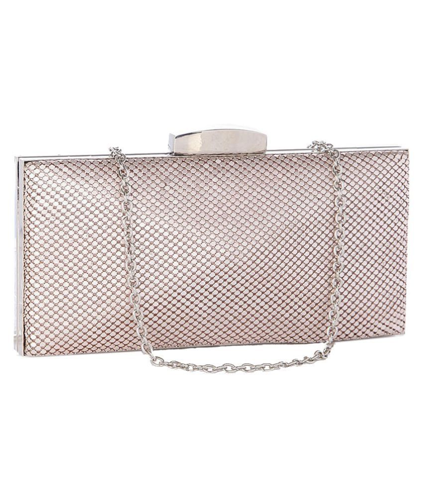 Addons PeachPuff Faux Leather Box Clutch