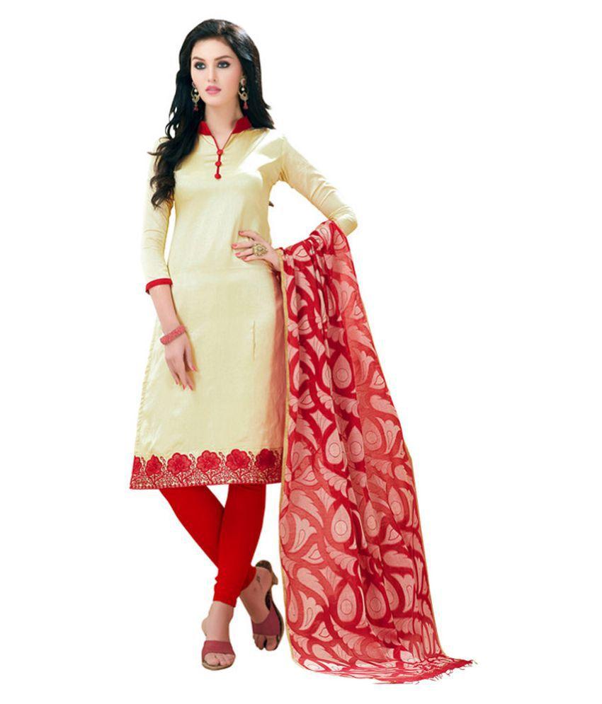 f7a5208160 Price Bet White and Beige Banarasi Silk Dress Material - Buy Price Bet  White and Beige Banarasi Silk Dress Material Online at Best Prices in India  on ...