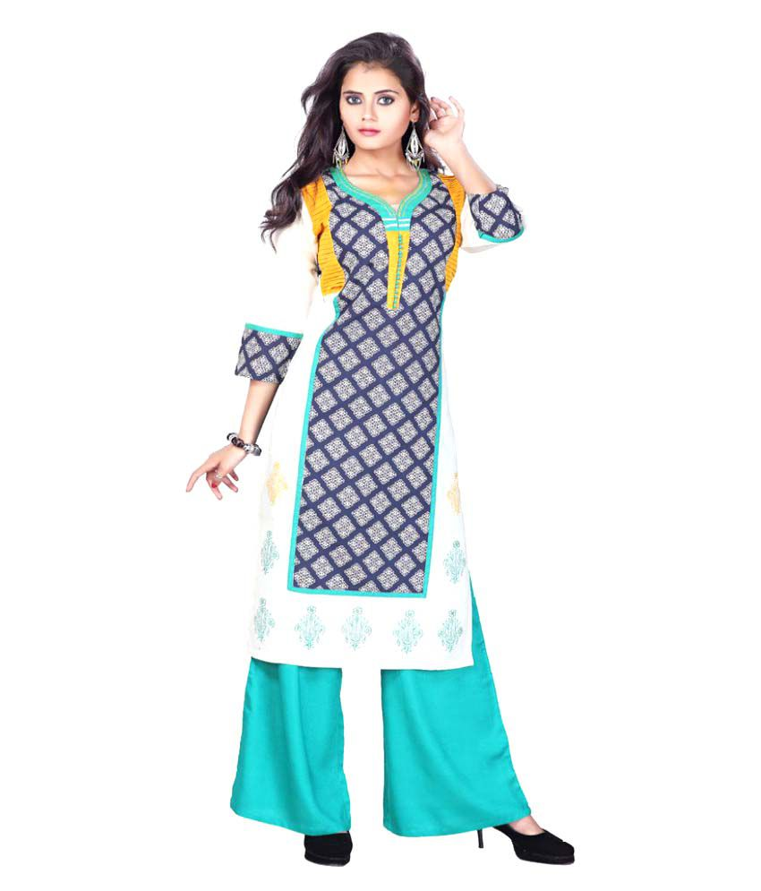 Payal Multicoloured Cotton Straight Aari Embroidery Kurti