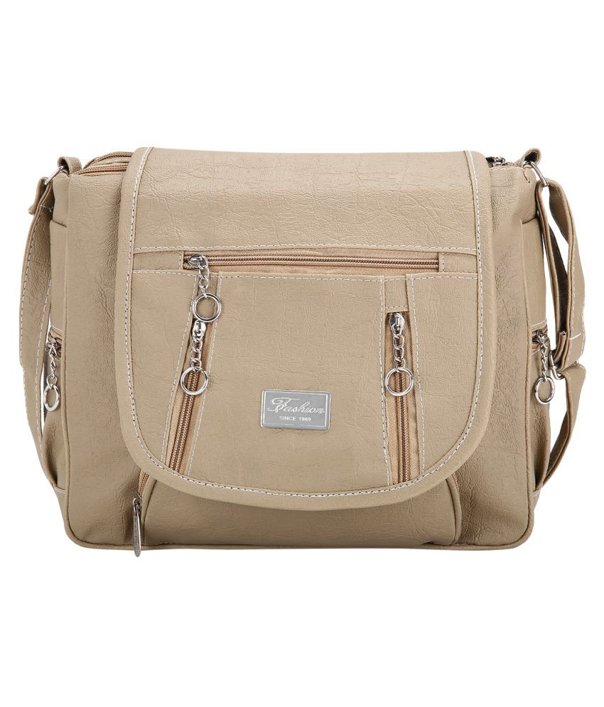 Sumit Collection Beige Faux Leather Shoulder Bag