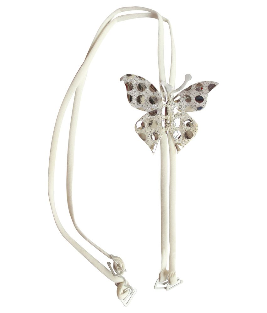 Clovia White Detachable Double String Straps With Fabric Butterfly Embellishment