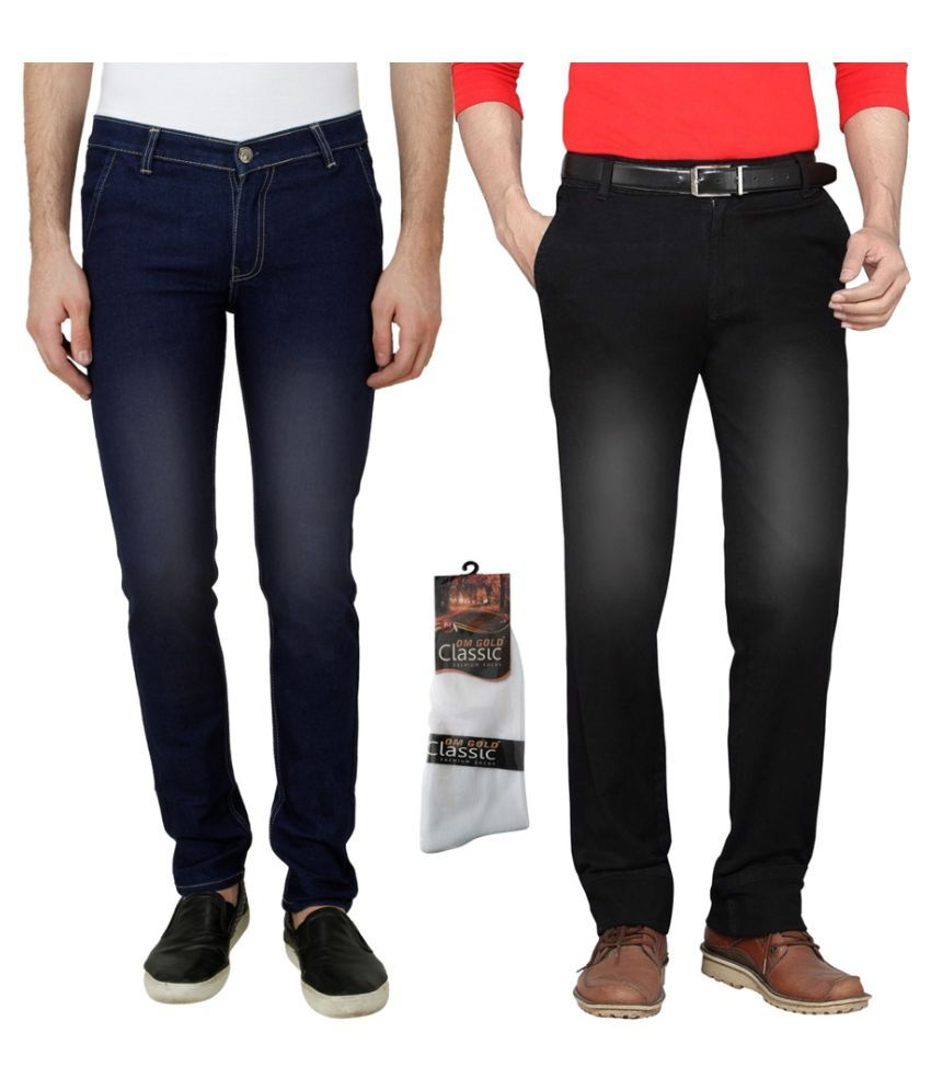 Haltung Multi Slim Faded Combo of 2 Jeans with 1 Pair of Socks