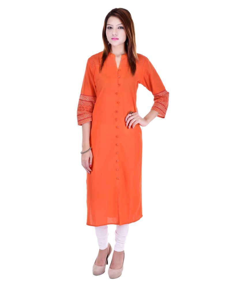Artisan Creation Orange Cotton Straight Color Blocked Kurti