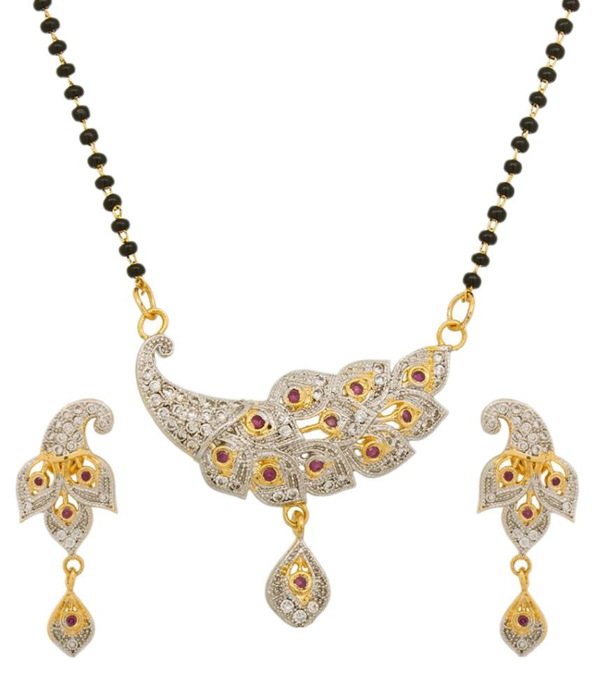 zevar Green Golden Alloy Mangalsutra Set