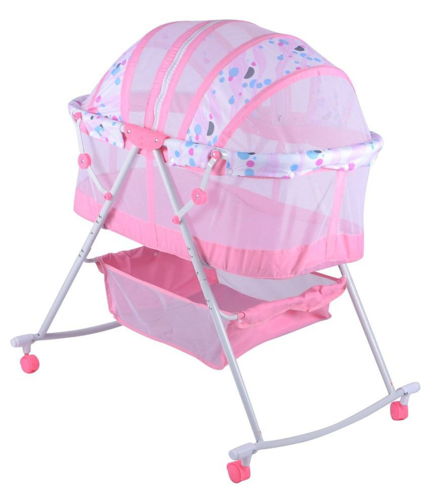 Baybee Pink Cotton Baby Bassinet Cradle