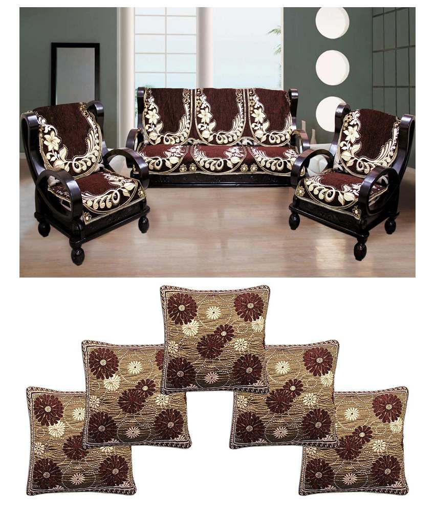 FK GOLDEN BROWN VELVET SOFA COVER WITH CUSHION COVERS ...
