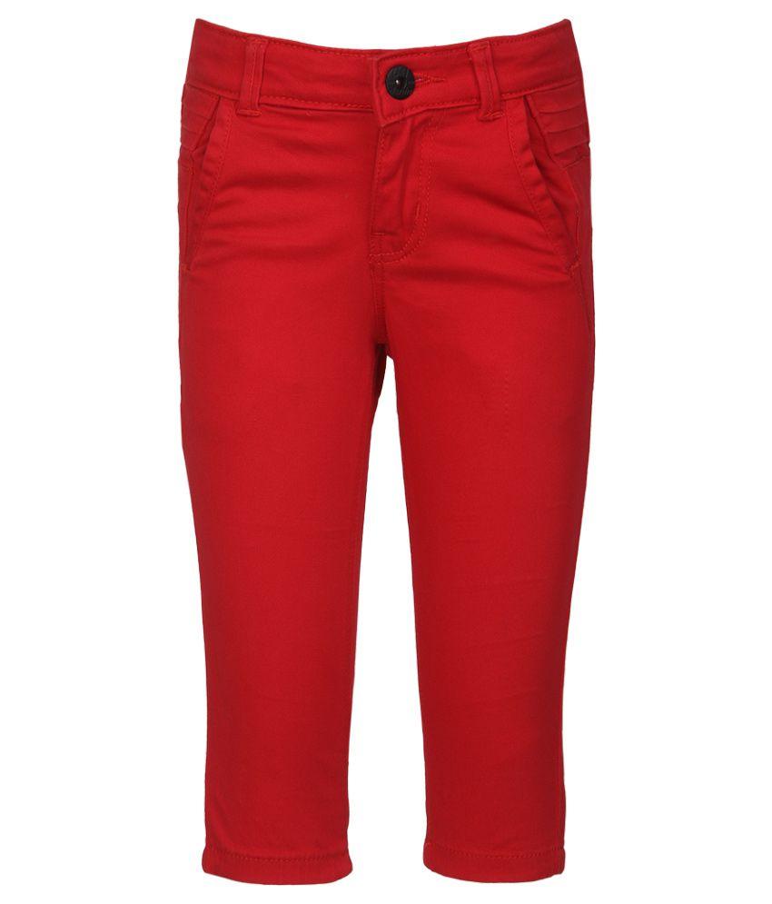 Gini & Jony Red Cotton Capris