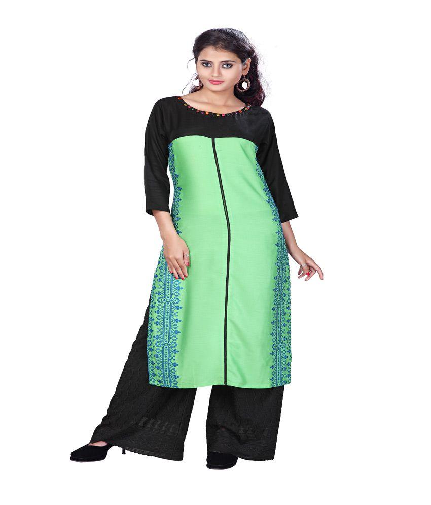 Payal Green Rayon Straight Aari Embroidery Kurti