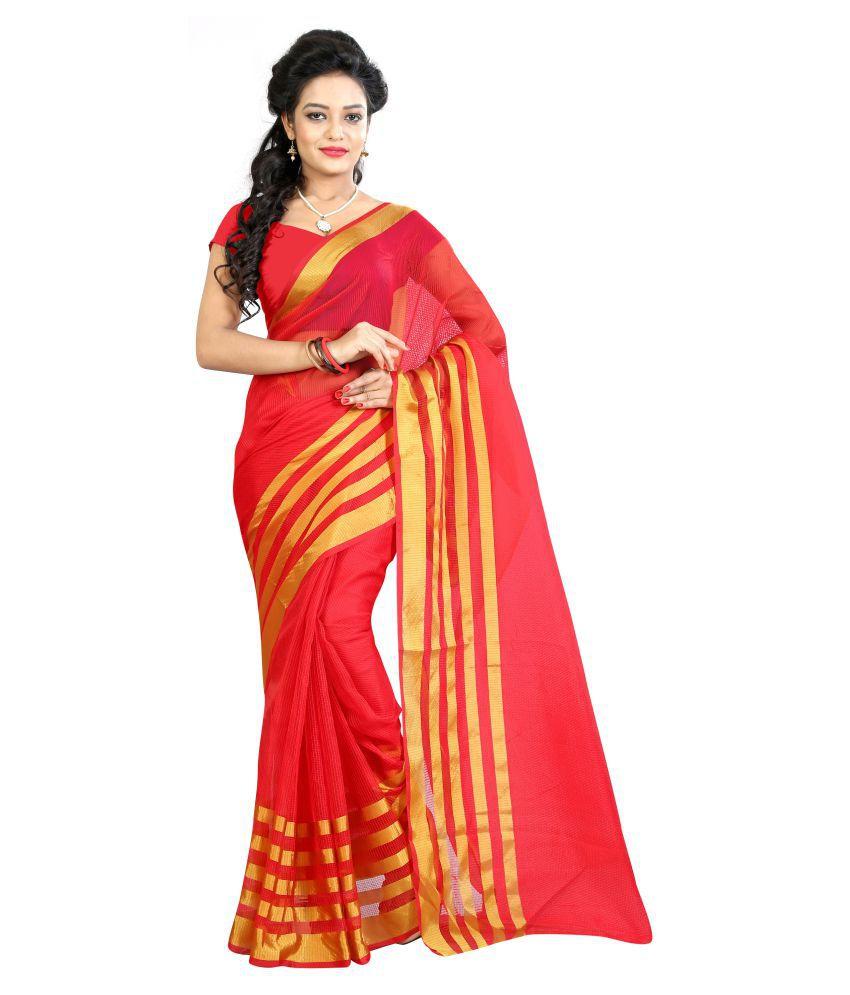 SH Fashion Red Cotton Silk Saree