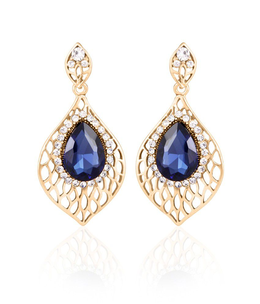 BIG Tree Antique Gold Blue Feather Shaped Dangler Earring For Women