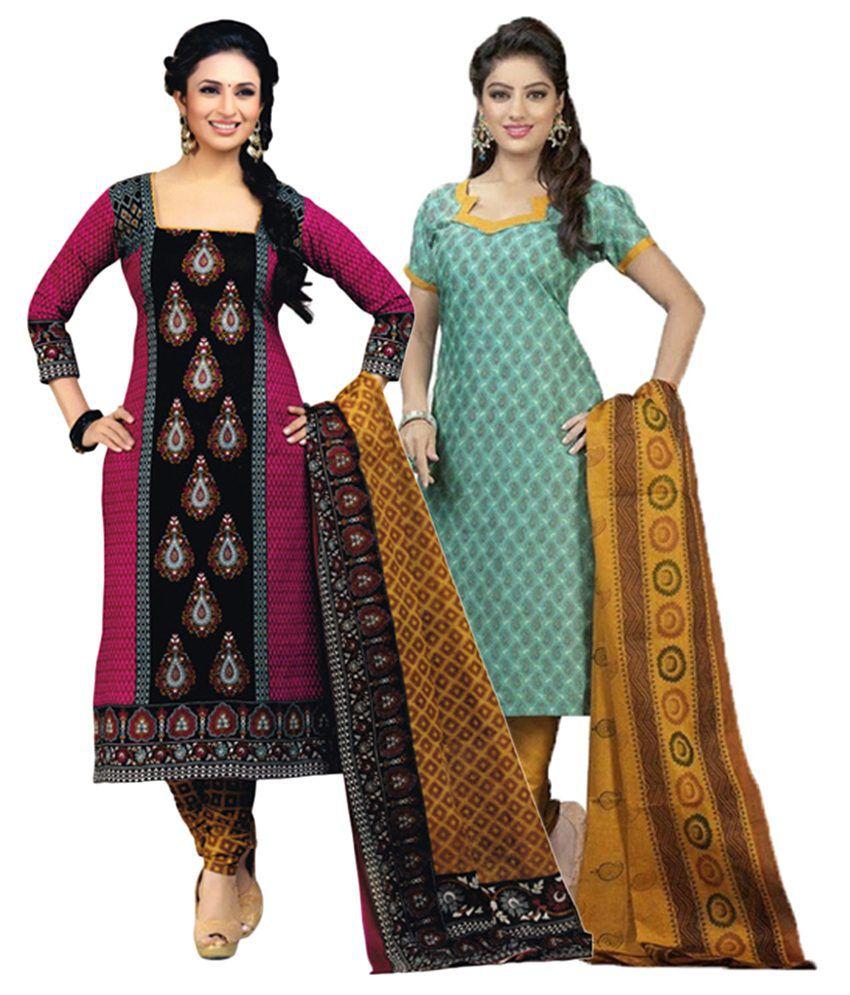 Diyastyle Multicolour & Turquoise Cotton Unstitched Salwar Suit Dress Material