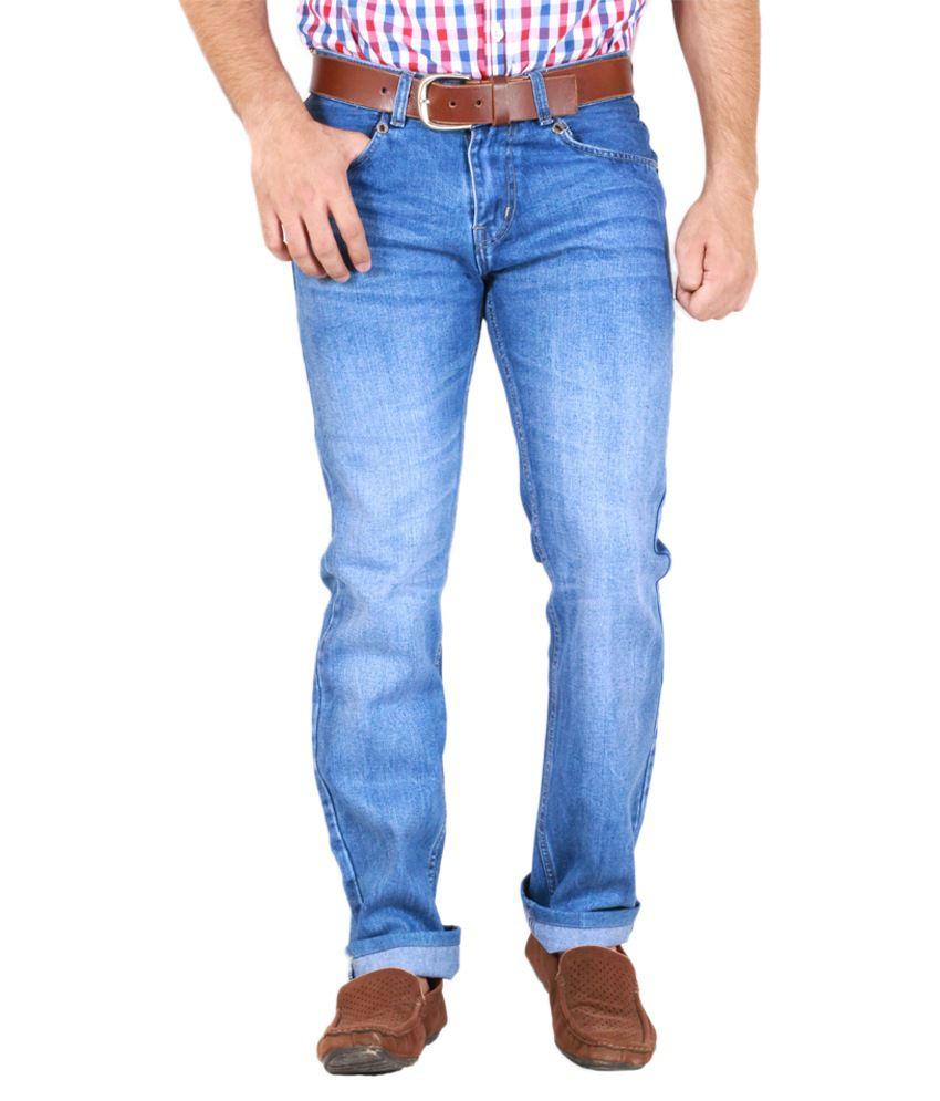 Goswhit Blue Cotton Blend Regular Fit Jeans