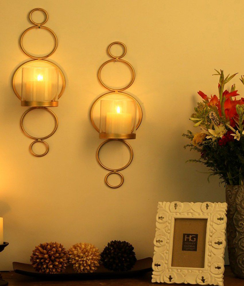Hosley Set of 2 Gold Decorative Wall Sconce with Free Candles: Buy ...