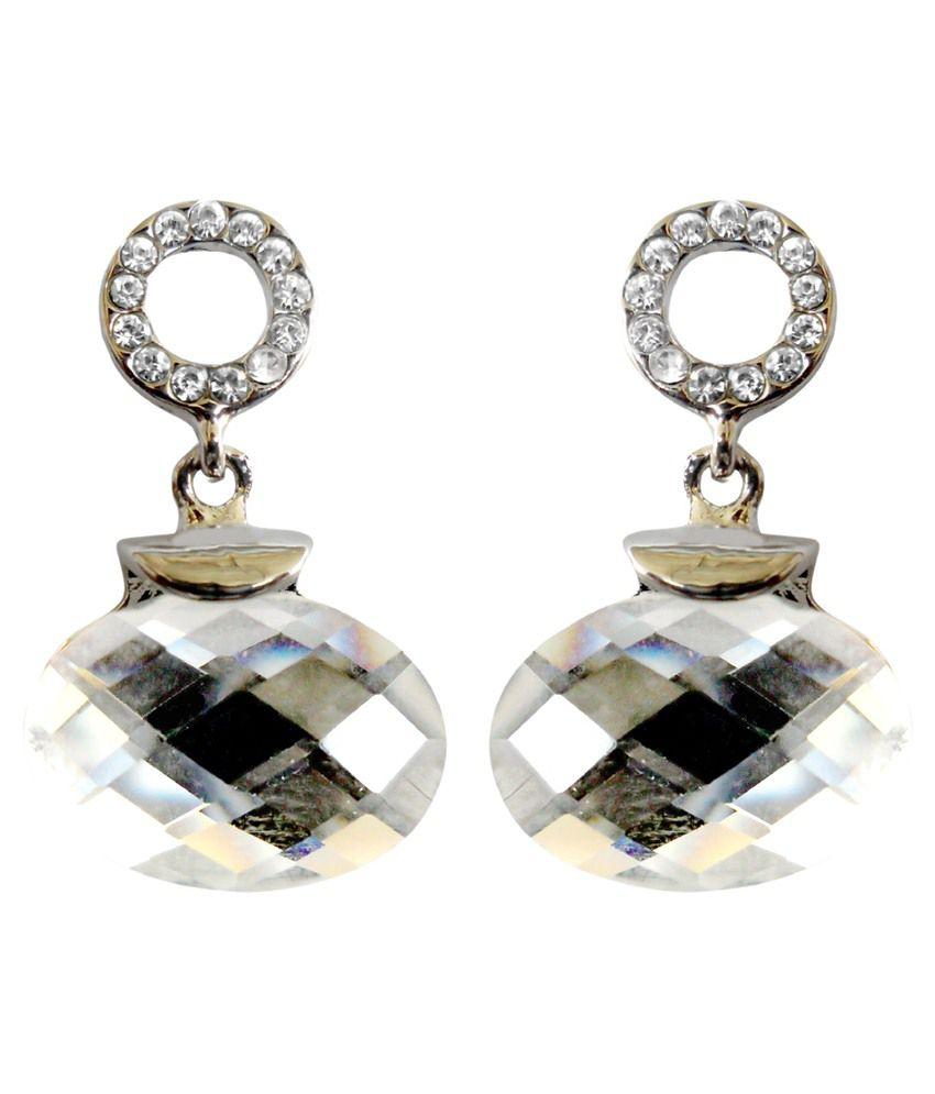 Kamal Jeweller Alloy White Chandelier Earrings