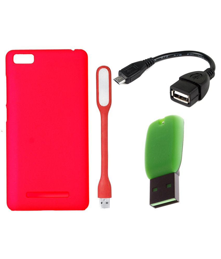 Vsure Back Cover For Xiomi Redmi Mi4I-Pink With LED Light, OTG Cable & Card Reader