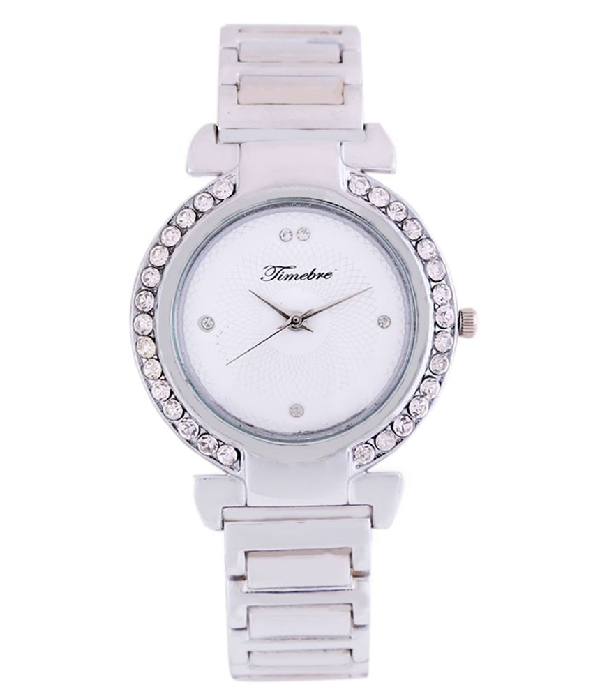 Timebre Women Silver Diamond Party Watch