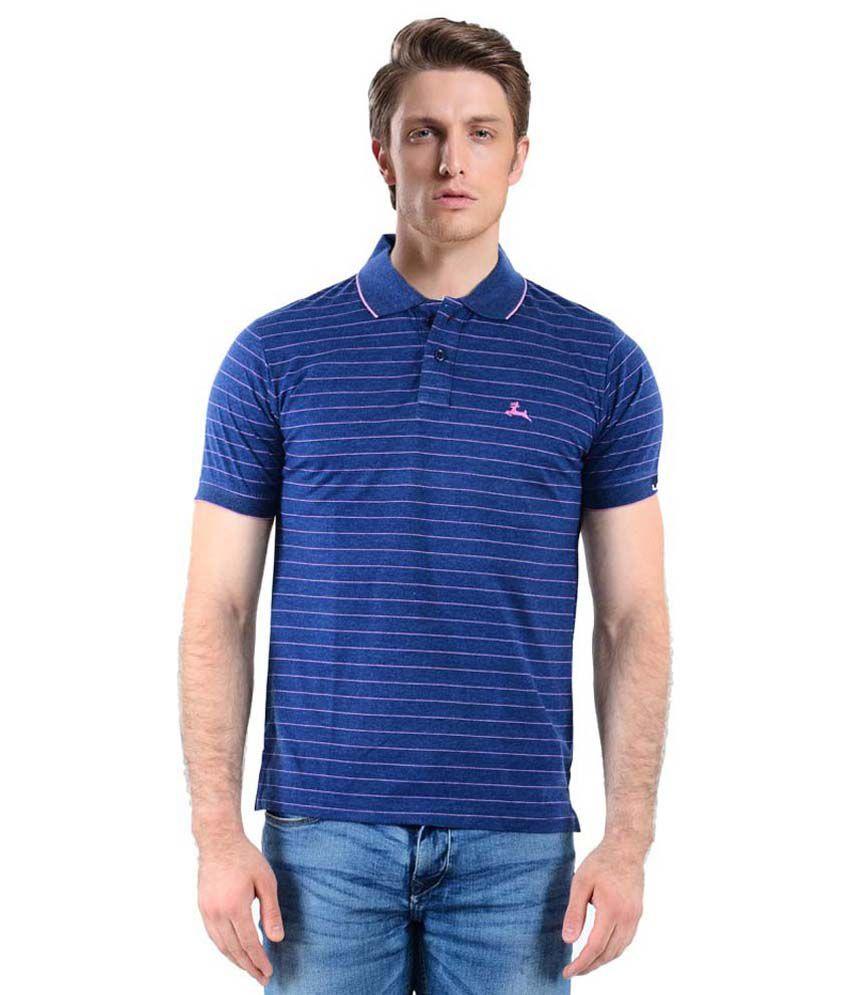 Vibgyor blue half sleeves stripers polo t shirt buy for Full sleeve polo t shirts