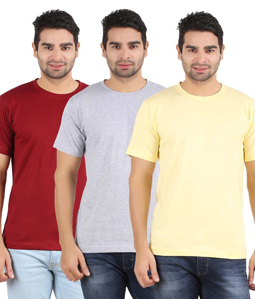Heartin Beat Men's Solid T-Shirt Pack of 3 (Yellow & Maroon & Grey)