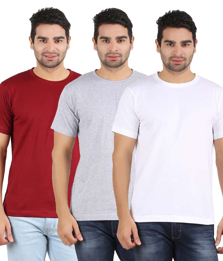 Heartin Beat Men's Solid T-Shirt Pack of 3 (White & Maroon& Grey)