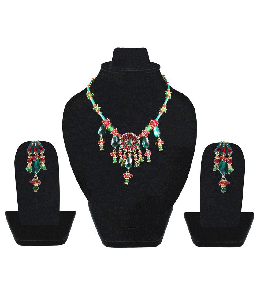 Kanchan'S By Inlehaat Handcrafted Bridal Green & Red Paper Necklace Set
