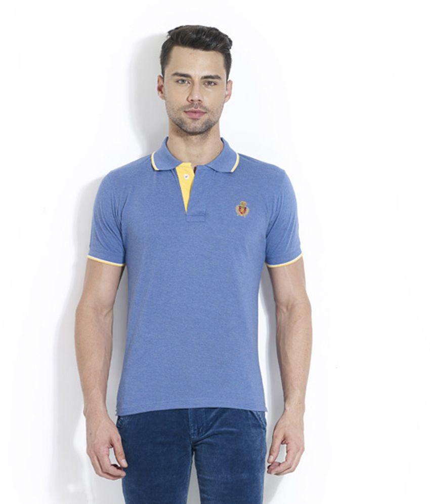 Lyf Blue Half Sleeves Plain Wear Polo T-shirt