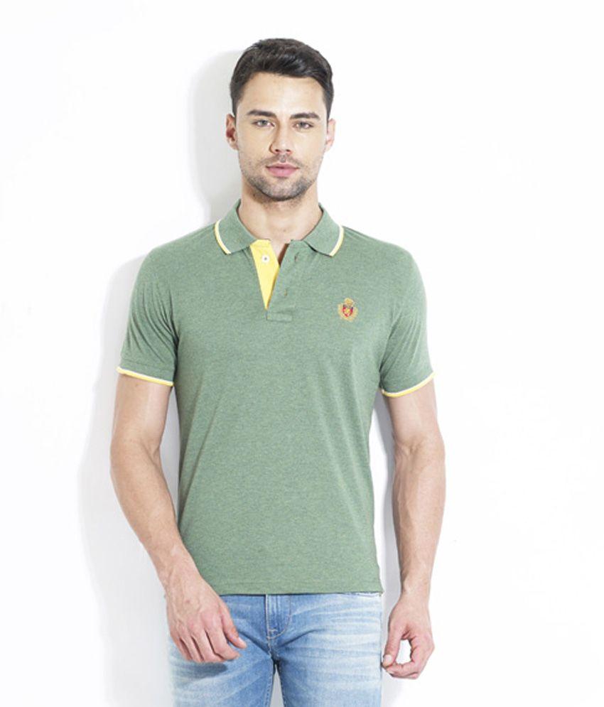 Lyf Green Half Sleeves Plain Wear Polo T-shirt