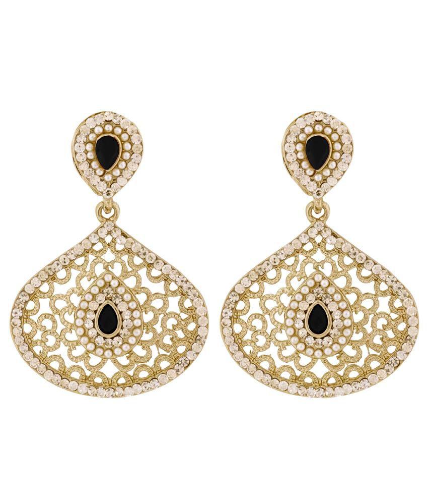 The Jewelbox Filigree Pear Black Antique Rhodium Dangling Earring for Women